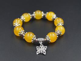Handmade beaded jade bracelet stretchy - genuine jade bracelet yellow bu... - $10.50