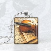VIOLIN Pendant Necklace Vintage Antique Sheet Music Scrabble Tile Pendan... - €10,50 EUR