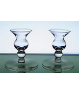 Candle Sticks Vintage Bulbous Dainty Clear Glass - $9.99