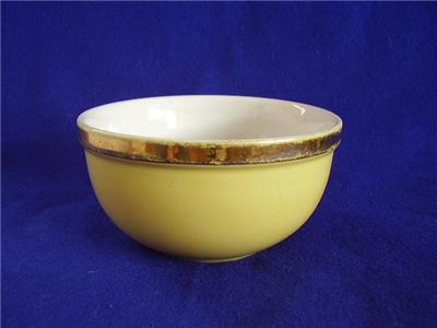 Primary image for Vintage Hall Small Mixing Bowl Yellow with Gold Trim