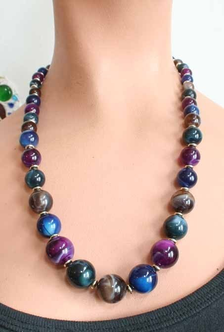 Primary image for Bohemian 70s Gorgeous Simulated Agate Necklace