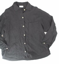 Fresh Produce sz L black 3/4 sleeve button front blouse loose casual - $40.00