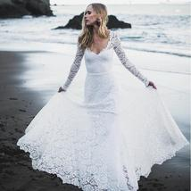 Sexy Low Open Back Scoop Neckline, Long Sleeve White Lace Wedding Dress image 2