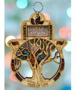 Tree of Life Wooden Home Blessing Hamsa Wall Hanging Decor Semi Precious... - $33.57