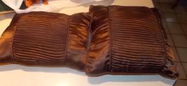 Pair of Brown Satin Gathered Decorative Pillows - $49.95