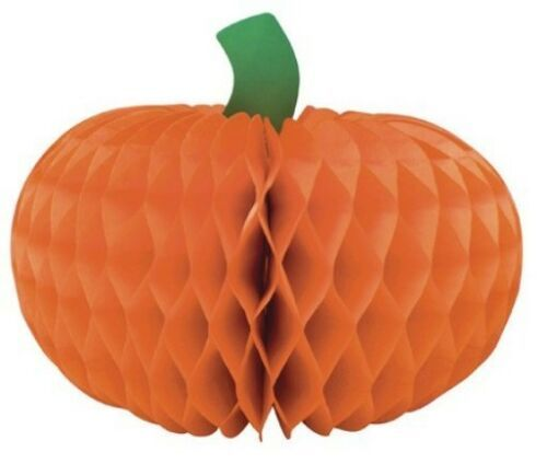 "Halloween Pumpkin 12"" Honeycomb Centerpiece 1 ct Decor"