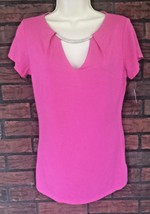 NWT Inc International Concepts Hot Pink V-Neck Stretch Shirt Medium Fuschia - $14.00