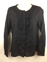 J. Crew Women's Black Cotton Dress Shirt Top Large Buttons Ruffles Size 0 - $14.84