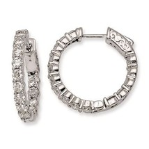 .925 Sterling Silver Rhodium-plated 3mm CZ In and Out Hinged Hoop Earrin... - $56.48