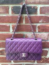 CHANEL Purple Caviar Leather 2.55 Double Flap Silver Hardware Bag * RARE! - $5,799.99