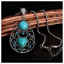 Turquoise Teardrop Heart Pendant Necklace, Antique Silver Vintage Style - $3.99