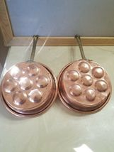 2 Vintage Copper Egg Pans Pots Molds Wall Decor With Brass Handles image 3