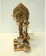 Christmas Birdhouse, Rustic Winter Decor, Gold Color, Handmade - $46.99