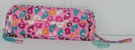 Room It Up Brand TCAE6221 Pink and Turquoise Leopard Print Flat Iron Case image 1