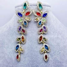 KMVEXO Crystal Rhinestone Layers Leaves Earrings for Women 2018 Brides D... - $9.76