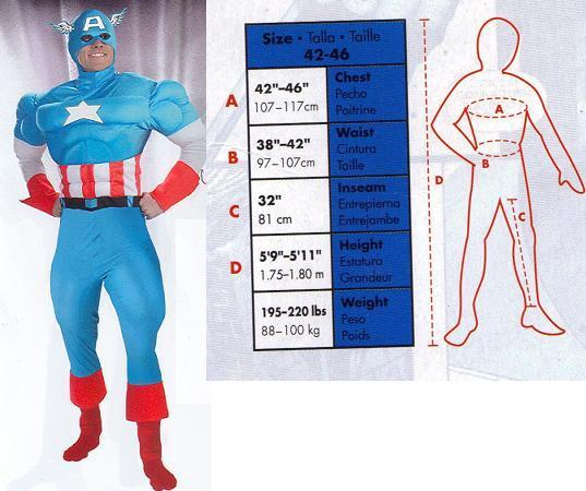 CAPTAIN AMERICA COSTUME ADULT TO SZ 46