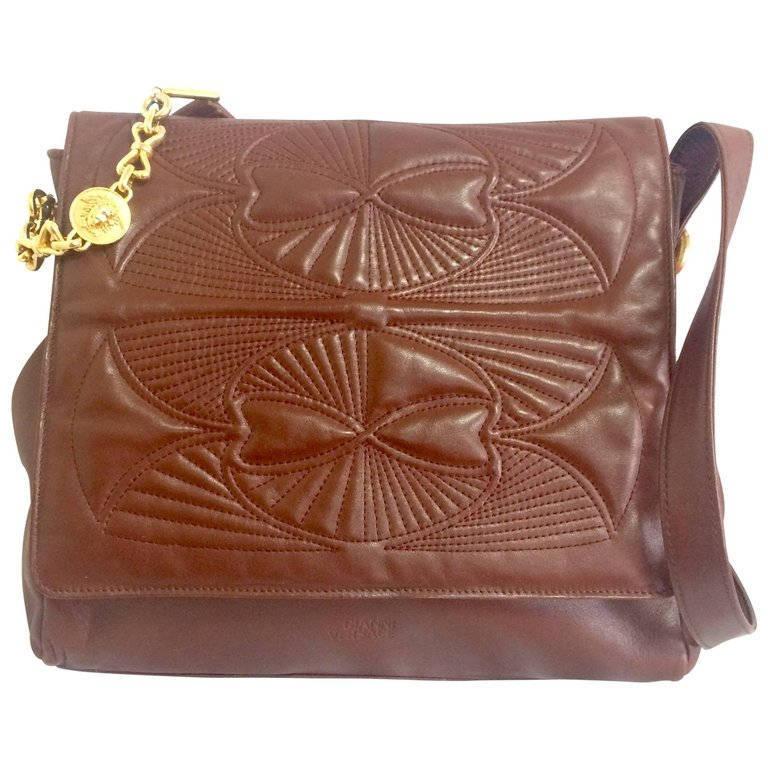 Vintage Gianni Versace brown nappa leather messenger style shoulder bag. - $522.00