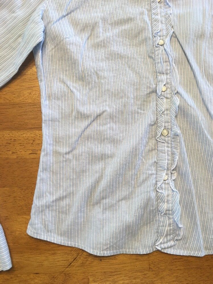 Abercrombie Girl's Blue & White Striped Long Sleeve Dress Shirt - Size XL image 10