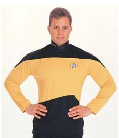 STAR TREK Next Gen SHIRT GOLD & Black MED Item 15202