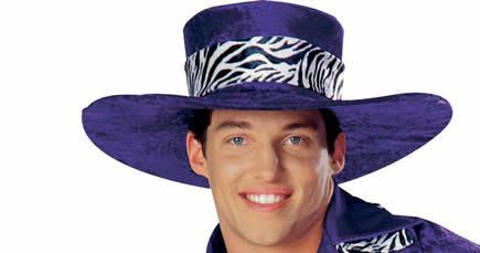 BIG PURPLE VELVET MAC DADDY HAT ZEBRA BAND