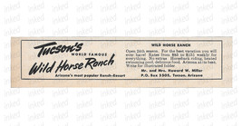 Wild Horse Ranch Resort Ad Tucson Arizona 1964 Roadside Ad Horseback Rid... - $14.99