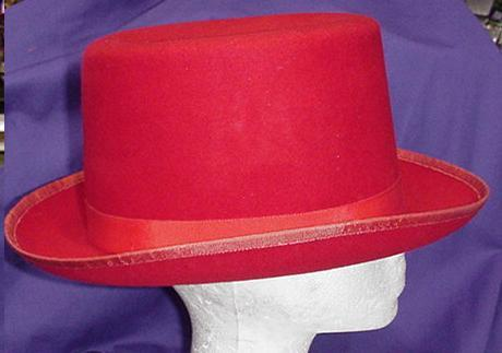 RED QUALITY FELT TOP HAT SZ MEDIUM
