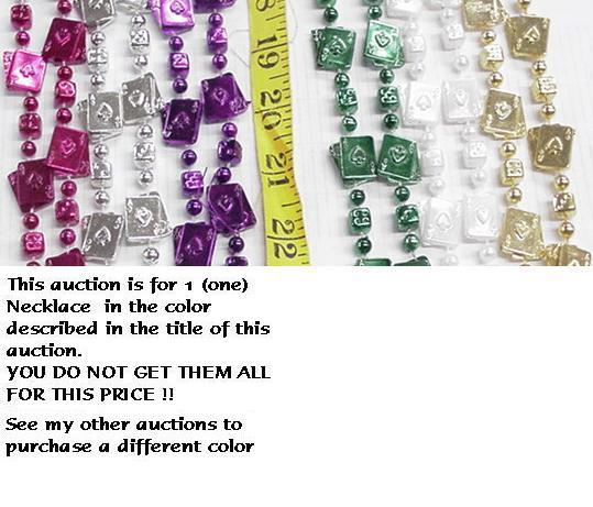 MARDI GRAS BEADS WHITE BLACKJACK CARDS