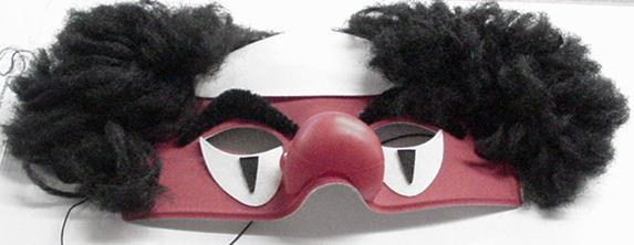 Mardi Gras CLOWN Mask with Hair and Nose