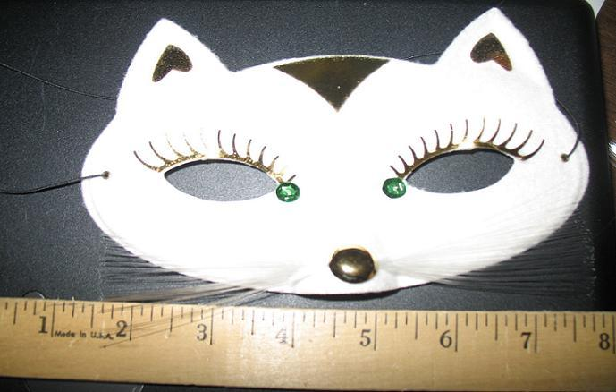 MARDI GRAS EYE MASK WHITE CAT