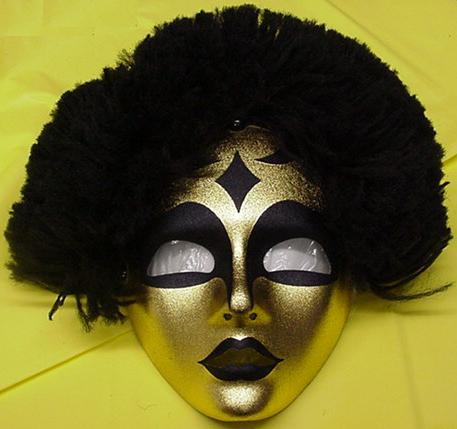 Mardi Gras Golden Tribal Lady MASK with Hair