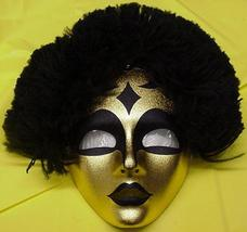 Mardi Gras Golden Tribal Lady MASK with Hair - $17.00