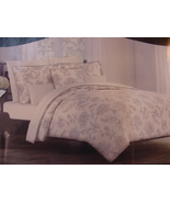 Cynthia Rowley Gray Sketched Floral Toile on White Duvet Cover Set Full/... - $123.00