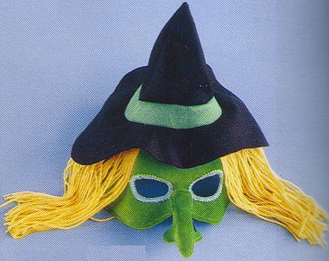 MARDI GRAS HEADBAND MASK WITCH with hair and hat ! Bonanza