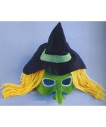 MARDI GRAS HEADBAND MASK WITCH with hair and hat ! - $12.00