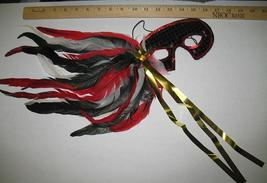 MARDI GRAS Mask Black Red and White Sequin Feathered - $8.00