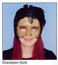 MARDI GRAS MASK GOLD FEATHERED CHARLESTON (Item #20)