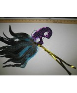MARDI GRAS Mask Purple and Teal Sequin Feathered - $8.00