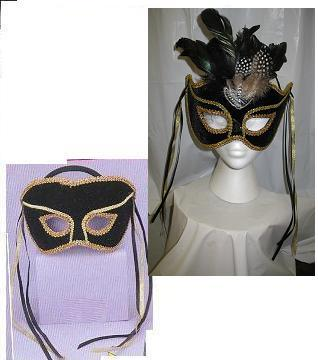 Mardi Gras Venetian Black and Gold Mans Mask i