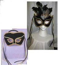 Mardi Gras Venetian Black and Gold Mans Mask i - $15.00