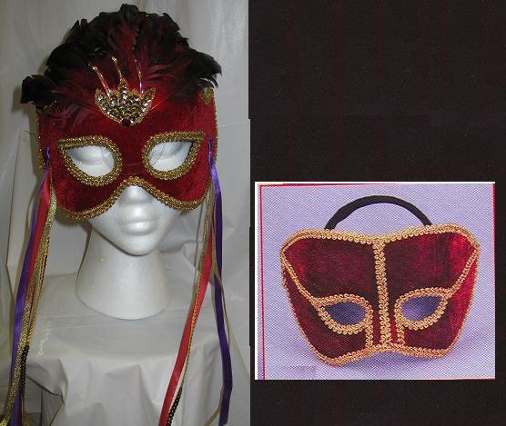 Mardi Gras Venetian Burgundy and Gold Mans Mask P