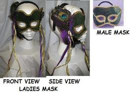 Mardi Gras Venetian Green and Gold Ladies Mask C - $15.00