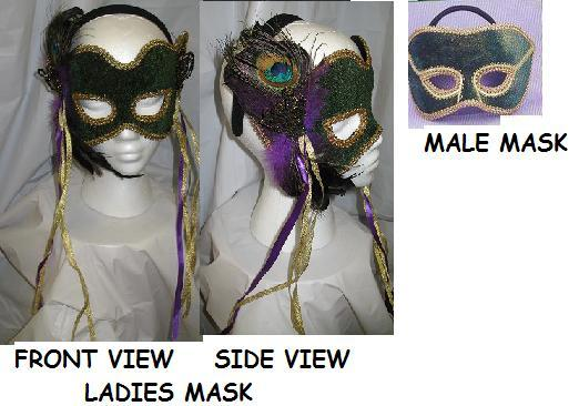 Mardi Gras Venetian Green and Gold Mans Mask D