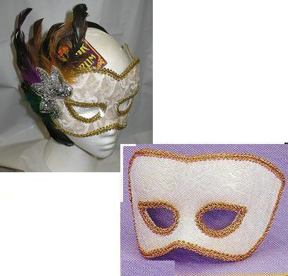 Mardi Gras Venetian Mans Mask N White and Gold