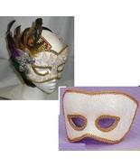 Mardi Gras Venetian Mans Mask N White and Gold - $15.00