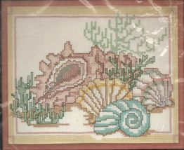 "Golden Bee Candamar Designs Stamped Cross Stitch Sea Shells Kit 8"" x 10""... - $14.99"