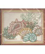 "Golden Bee Candamar Designs Stamped Cross Stitch Sea Shells Kit 8"" x 10""... - $14.99"