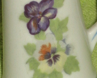 Toothpick Holder  with Pansies-Porcelain