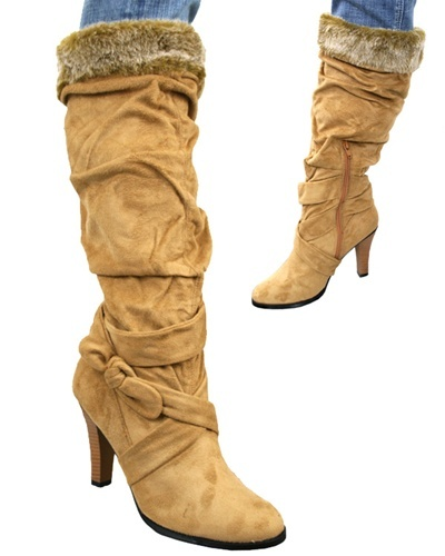 Primary image for Camel Sued Bellissimo Boots with fur trim