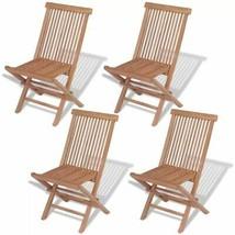 vidaXL 4x Solid Teak Wood Outdoor Folding Chairs Brown Seat Garden Furni... - $158.99