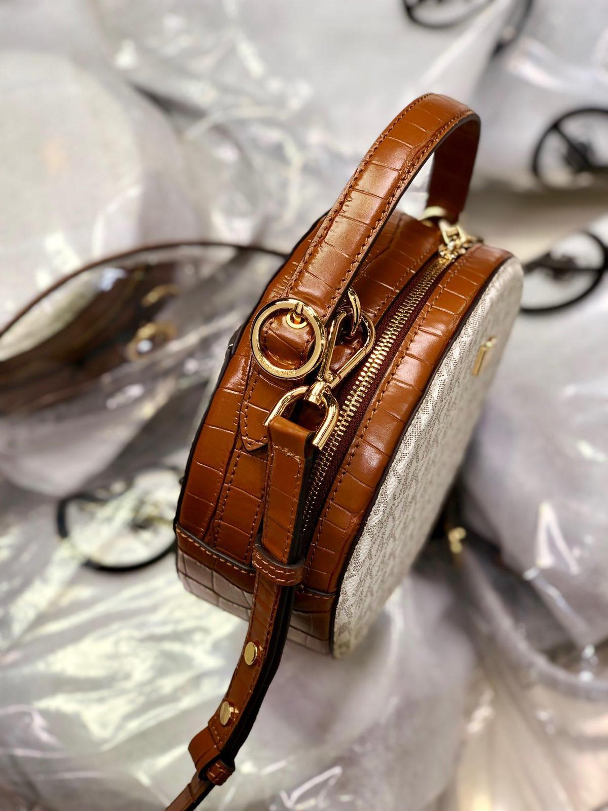 Michael Kors Delaney Medium Logo Canteen Crossbody Bag Vanilla
